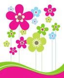 Rosafarbene und grüne Frühlings-Blumen Stockbild