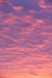 Rosafarbene und purpurrote Wolken am Sonnenuntergang Lizenzfreies Stockfoto