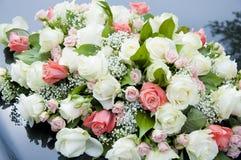 Rosafarbene und rote Rosen Lizenzfreies Stockfoto
