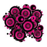 Rosafarbene und schwarze Kreise vektor abbildung