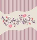 Rosafarbene vektorblumen und -streifen lizenzfreie abbildung