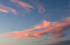 Rosafarbene Wolken Stockbild
