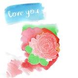 Rosafarbene Zeichnung des Aquarells Hand Lizenzfreie Stockbilder