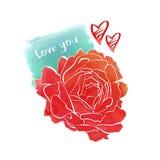 Rosafarbene Zeichnung des Aquarells Hand Lizenzfreies Stockbild