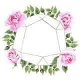 Rosafarbener Blumenkranz des Wildflowertees in einer Aquarellart Lizenzfreie Stockfotos