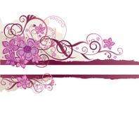 Rosafarbener Blumenrand Stockbilder