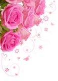 Rosafarbener Blumenstrauß des Rosas Stockbild