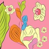 Rosafarbener dekorativer Hintergrund mit fresia und narcis Stockbilder