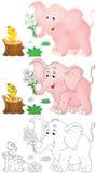 Rosafarbener Elefant und kleines Küken Lizenzfreie Stockfotos