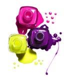 Rosafarbener, gelber, purpurroter Nagellack Stockbild