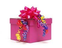 Rosafarbener Geschenk-Kasten Stockbild