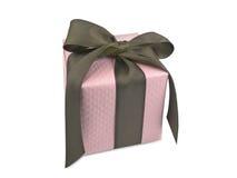 Rosafarbener Geschenk-Kasten mit Brown-Farbband Lizenzfreies Stockfoto