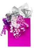 Rosafarbener Geschenkbeutel Stockbilder