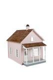 Rosafarbener hölzerner Dollhouse auf Weiß Lizenzfreie Stockfotografie