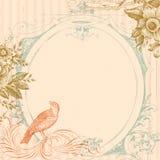 Rosafarbener Hochzeits-Vogel und Blumen-Hintergrund Stockbild