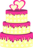 Rosafarbener Hochzeitskuchen Stockfotografie