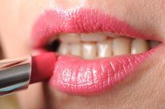 Rosafarbener Lippenstift Stockfoto