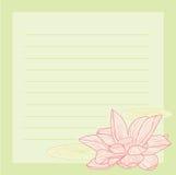 Rosafarbener Lotosnotizblock Lizenzfreie Stockbilder
