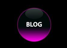 Rosafarbener Neontasten-Blog Stockbild