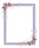 Rosafarbener Roseland Einladungsrand Stockbild