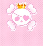 Rosafarbener Schädel mit Krone lizenzfreie abbildung