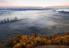Rosafarbener Sonnenaufgang Kaltes Morgenlicht Nebelige Landschaft der Landschaft Luftbrummenfoto lizenzfreie stockfotos