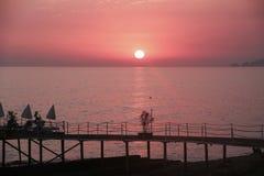 Rosafarbener Sonnenuntergang Lizenzfreie Stockfotografie