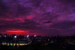 Rosafarbener Sonnenuntergang Stockfotos