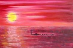 Rosafarbener Sonnenuntergang stock abbildung