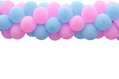 Rosafarbener und blauer Ballon Stockbild