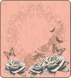 Rosafarbener Weinlesehintergrund mit dekorativem butterflie Lizenzfreies Stockbild