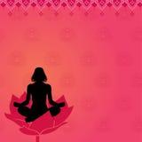 Rosafarbener Yogahintergrund Stockfoto