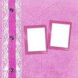 Rosafarbenes Album für Fotos mit Jeans Stockbilder