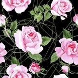 Rosafarbenes Blumenmuster des Wildflowertees in einer Aquarellart Stockbild