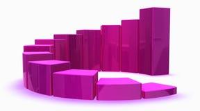 Rosafarbenes Diagramm 3d Stockfotografie