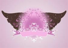 Rosafarbenes Emblem, Auslegungelement Stockbild