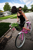 Rosafarbenes Fahrrad Stockfoto