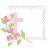 Rosafarbenes Feld mit rosafarbenem Kreuz Lizenzfreie Stockfotografie
