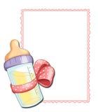 Rosafarbenes Feld mit Schätzchenflasche Stockfotos