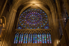 Rosafarbenes Fenster des Buntglases in Notre Dame Carthedral, Paris Stockbild