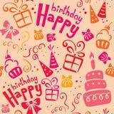 Rosafarbenes Geburtstagmuster Stockbild