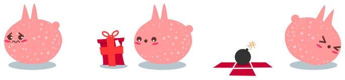 Rosafarbenes Geschöpf erhält eine Bombe als Geschenk Stockbild