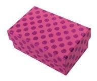 Rosafarbenes giftbox mit purpurroten Punkten Stockbild