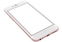 Rosafarbenes Gold Smartphones mit dem leeren Bildschirm, lokalisiert auf weißem Hintergrund Lizenzfreie Stockfotografie
