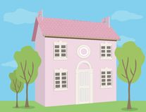 Rosafarbenes Haus Lizenzfreie Stockfotos