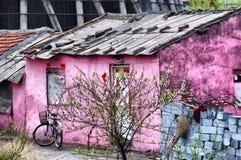 Rosafarbenes Haus Stockfotos