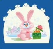 Rosafarbenes Kaninchen mit einem Geschenk Lizenzfreie Stockbilder