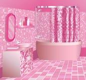 Rosafarbenes Luxuxbadezimmer vektor abbildung