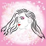 Rosafarbenes Mädchenart und weiseschattenbild Stockbild