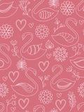 Rosafarbenes nahtloses Muster mit Schwänen. Lizenzfreies Stockfoto